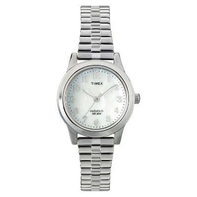 Women's Timex Indiglo Expansion Band Watch - Silver/Mother of Pearl T2M826JT