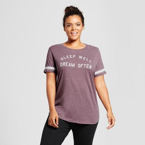7e79b584fb5a2 Women s Plus Size Sleep Well Dream Often Sleep T-Shirt - Xhilaration™ Maroon