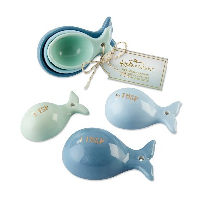 6ct Ceramic Whale Shaped Measuring Spoons