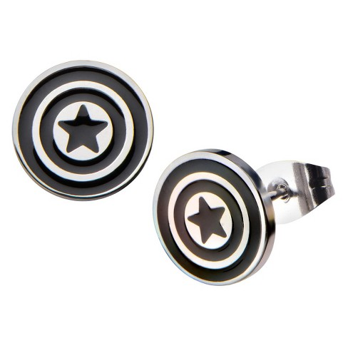Women's Marvel™ Captain America Shield Logo Stainless Steel Enamel Stud Earrings - image 1 of 1