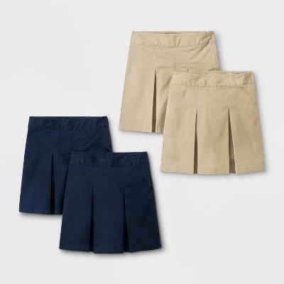 Girls' 4pk Stretch Uniform Pleated Twill Skorts - Cat & Jack™ Navy/Khaki