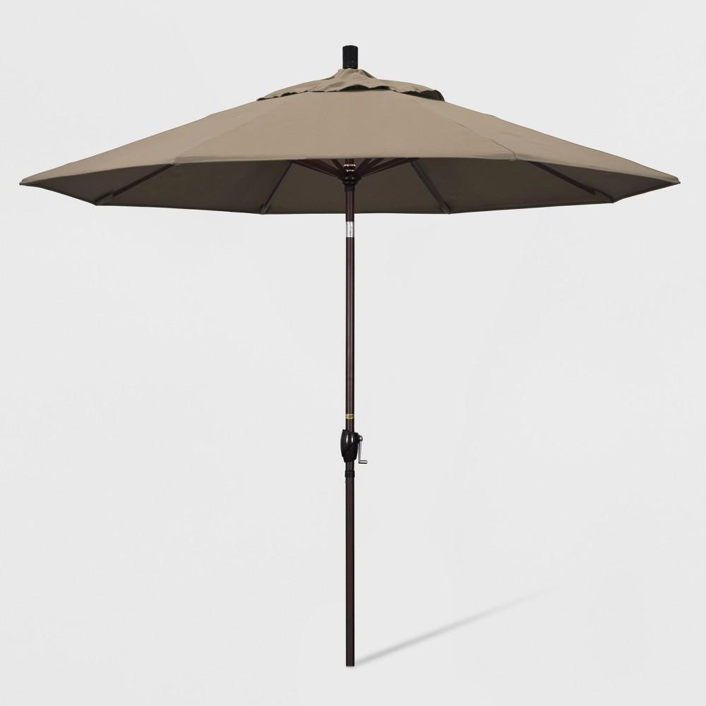 9 Aluminum Push Tilt Patio Umbrella Taupe California Umbrella