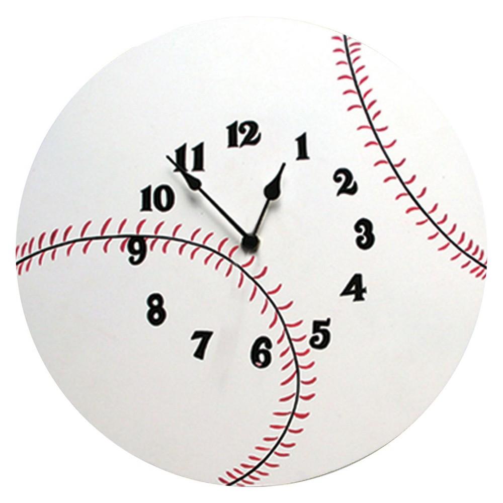 Image of Baseball Wall Clock White