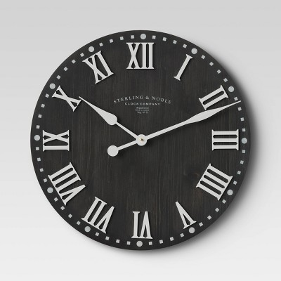 "23"" Wood Wall Clock Black - Threshold™"