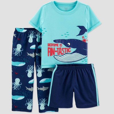 Toddler Boys' 3pc Whale Poly Pajama Set - Just One You® made by carter's Blue 2T