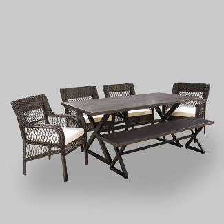 Alga 6pc Aluminum & Wicker Patio Dining Set - Brown - Christopher Knight Home