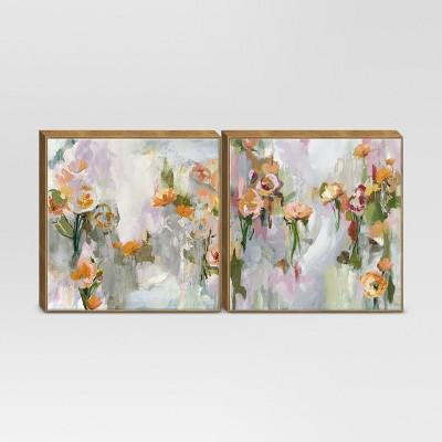Framed Floral Wall Canvas Gray/Green 12 x12  2pk - Threshold™