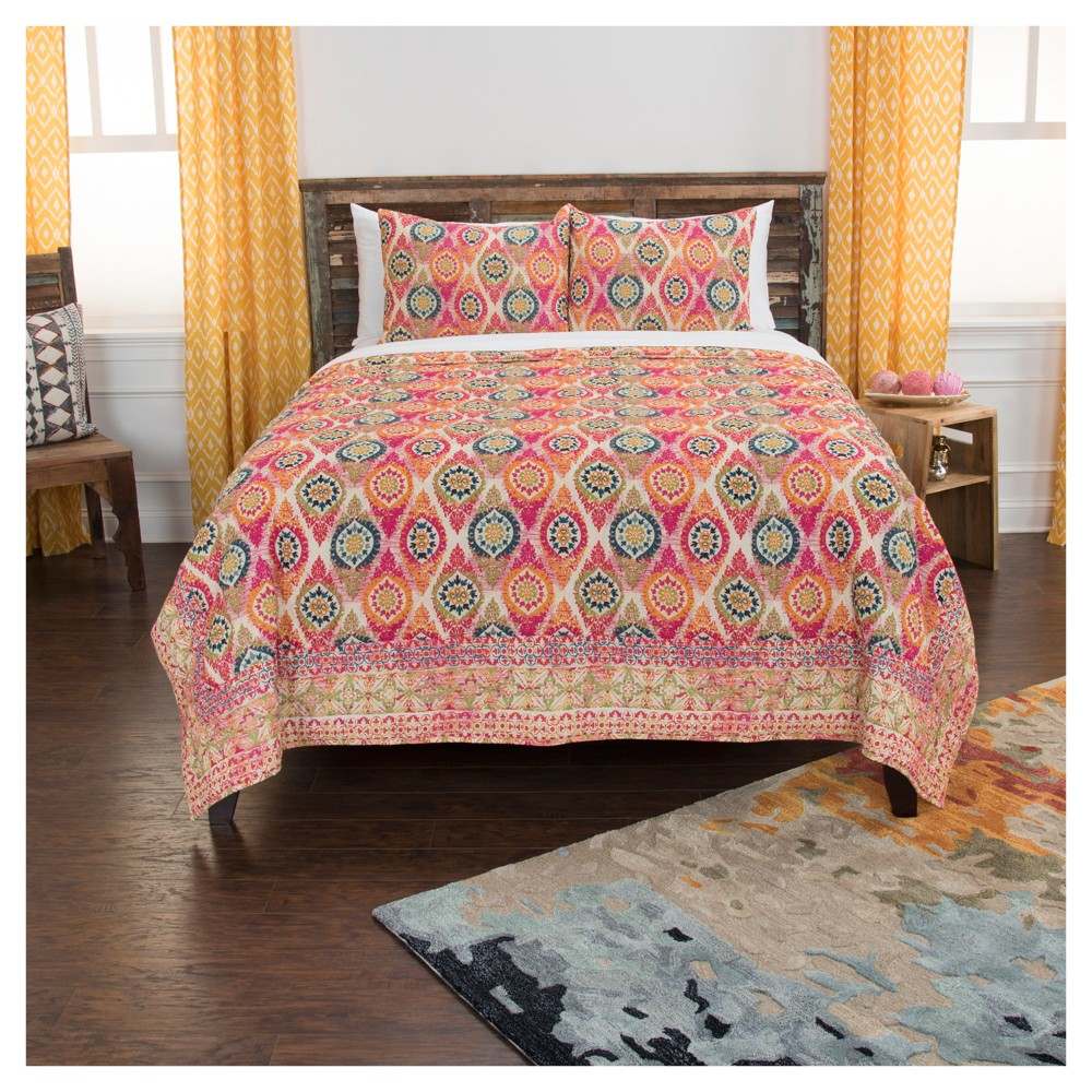 Pink Geometric Cotton Maddux Place Quilt Set (Queen) - Rizzy Home