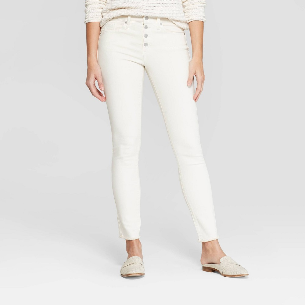 Women's High-Rise Button Fly Fray Hem Skinny Jeans - Universal Thread Cream 0, Beige