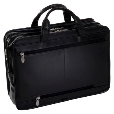 'McKlein Hubbard 15'' Leather Double Compartment Laptop Briefcase (Black)'