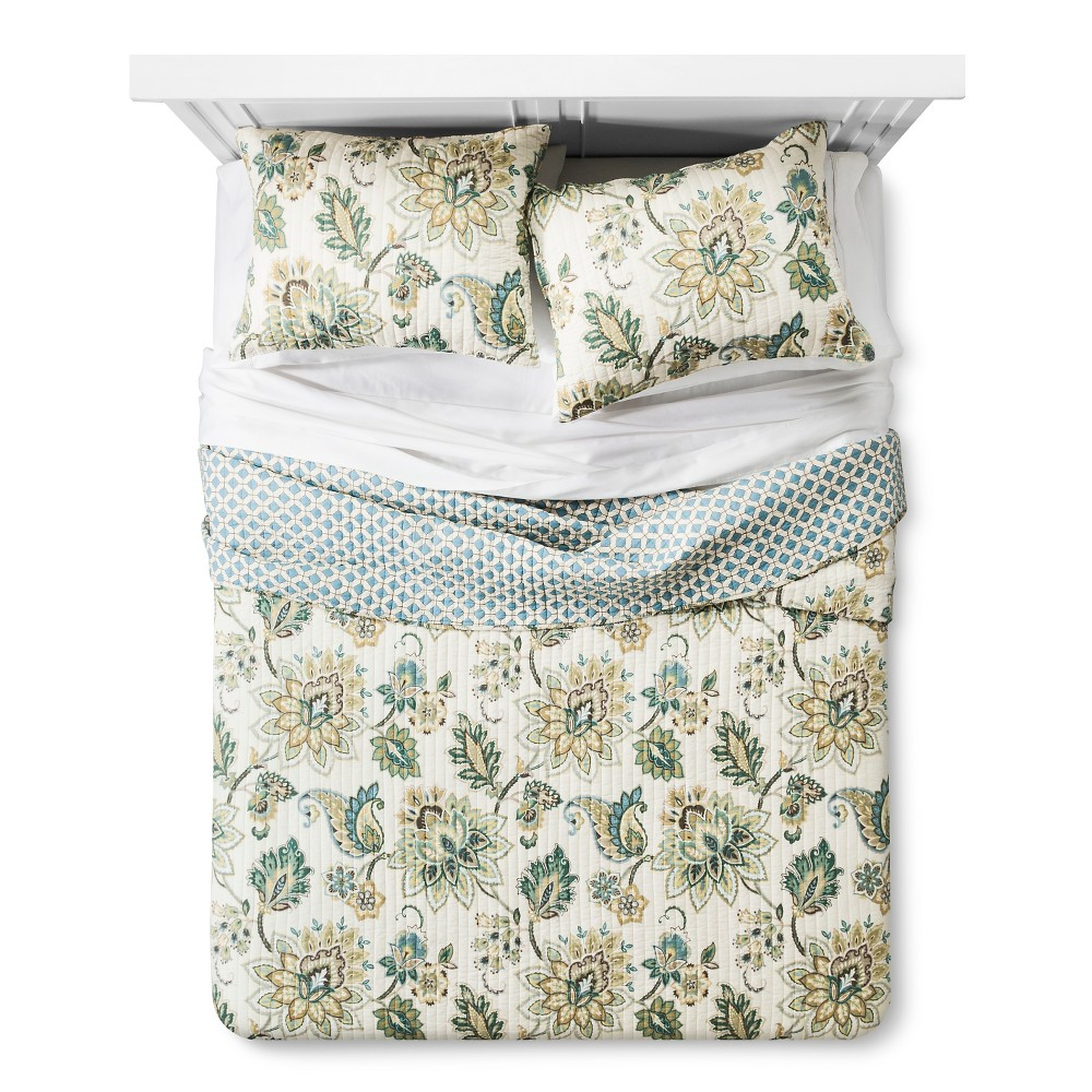 Image of Greyson Quilt Set King - homthreads, Blue Green White