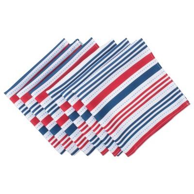 Set of 6 Patriotic Stripe Napkins Blue/Red - Design Imports