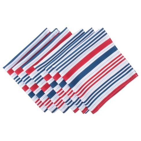 Set of 6 Patriotic Stripe Napkins Blue/Red - Design Imports - image 1 of 4