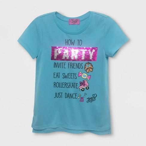 Girls' JoJo Siwa Flip Sequin Short Sleeve T-Shirt - Turquoise Heather - image 1 of 2
