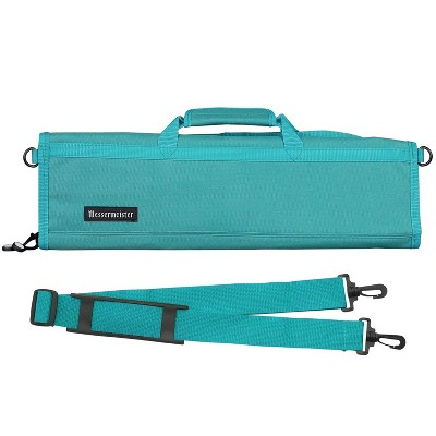 Messermeister Heavy Duty 8 Pocket Padded Nylon Knife Culinary Roll Up Luggage Case with Large Pocket, Teal
