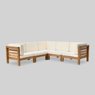Oana 5pc Acacia Wood V-Shaped Sectional Sofa Set Teak/Beige - Christopher Knight Home