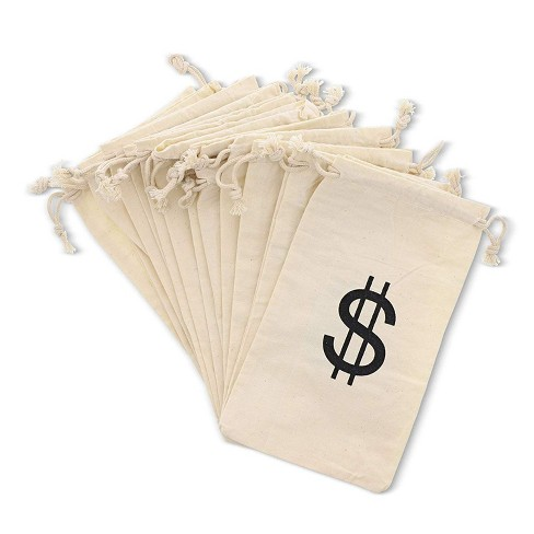 """Juvale 7"""" Set of 12 Money Bag Pouches with Drawstring Closure Canvas Cloth and Dollar Sign Design for Toy Party Favors - image 1 of 3"""