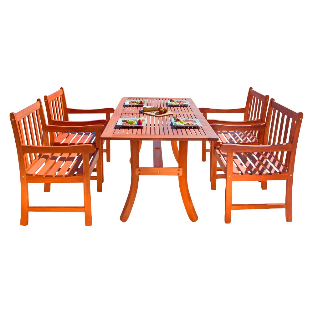Vifah Malibu Eco-Friendly 5-Piece Wood Outdoor Dining Set - Brown
