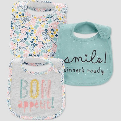 Baby Girls' 3pk Bon Appetit Bib - Just One You® made by carter's Gray