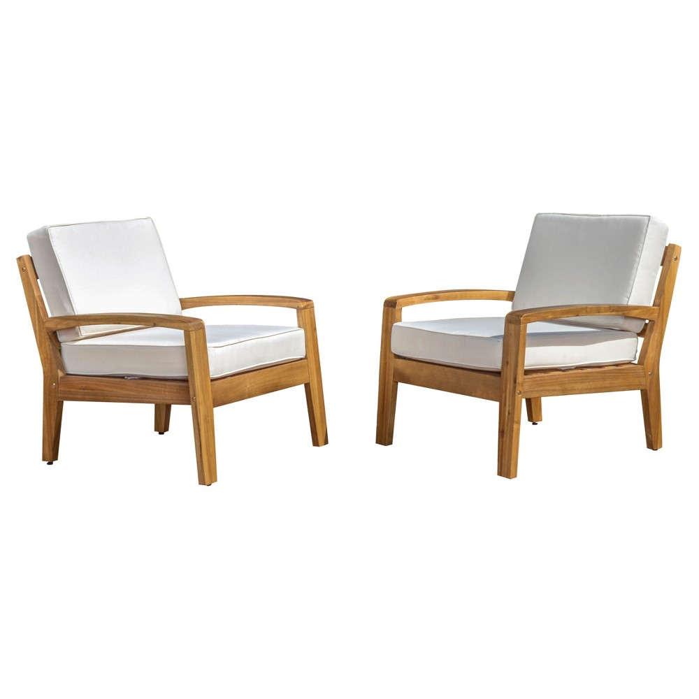 Grenada Set of 2 Wooden Club Chairs With Cushions - Beige - Christopher Knight Home