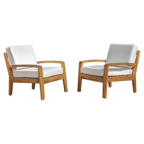 Grenada Set Of 2 Wooden Club Chairs With Cushions Christopher