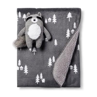 Plush Velboa Baby Blanket & Rattle Raccoon - Cloud Island™ - Gray