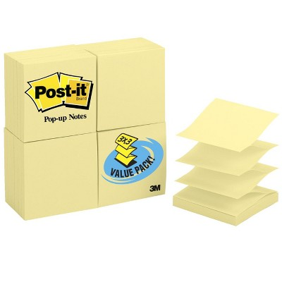 Post-it Pop-Up Notes, 3 x 3 Inches, Canary Yellow, 24 Pads with 100 Sheets Each