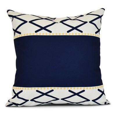Navy/White Knot Fancy Print Pillow Throw Pillow (16 x16 )- E by Design