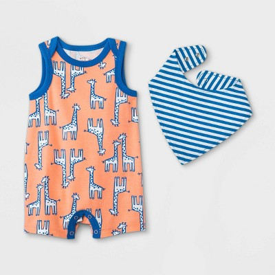 Baby Boys' Giraffe Romper with Bib - Cat & Jack™ Red