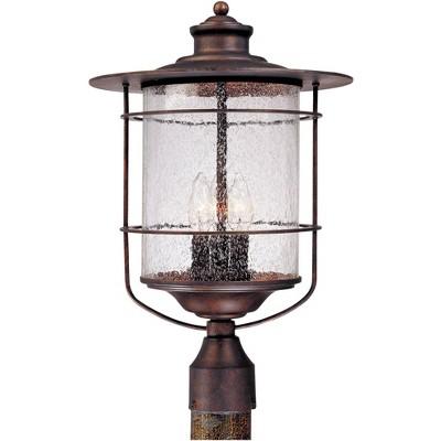 "Franklin Iron Works Industrial Farmhouse Outdoor Post Light Bronze 19 3/4"" Clear Seedy Glass Lantern for Exterior Garden Yard"