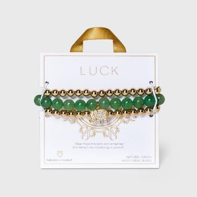 Beloved + Inspired Gold Green Aventurine with Elephant Charm Trio Stretch Bead Bracelet Set - Green