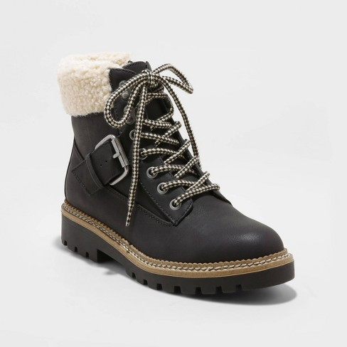 Women's Susan Microsuede Sherpa Lace-Up Fashion Boots - Universal Thread™ - image 1 of 3