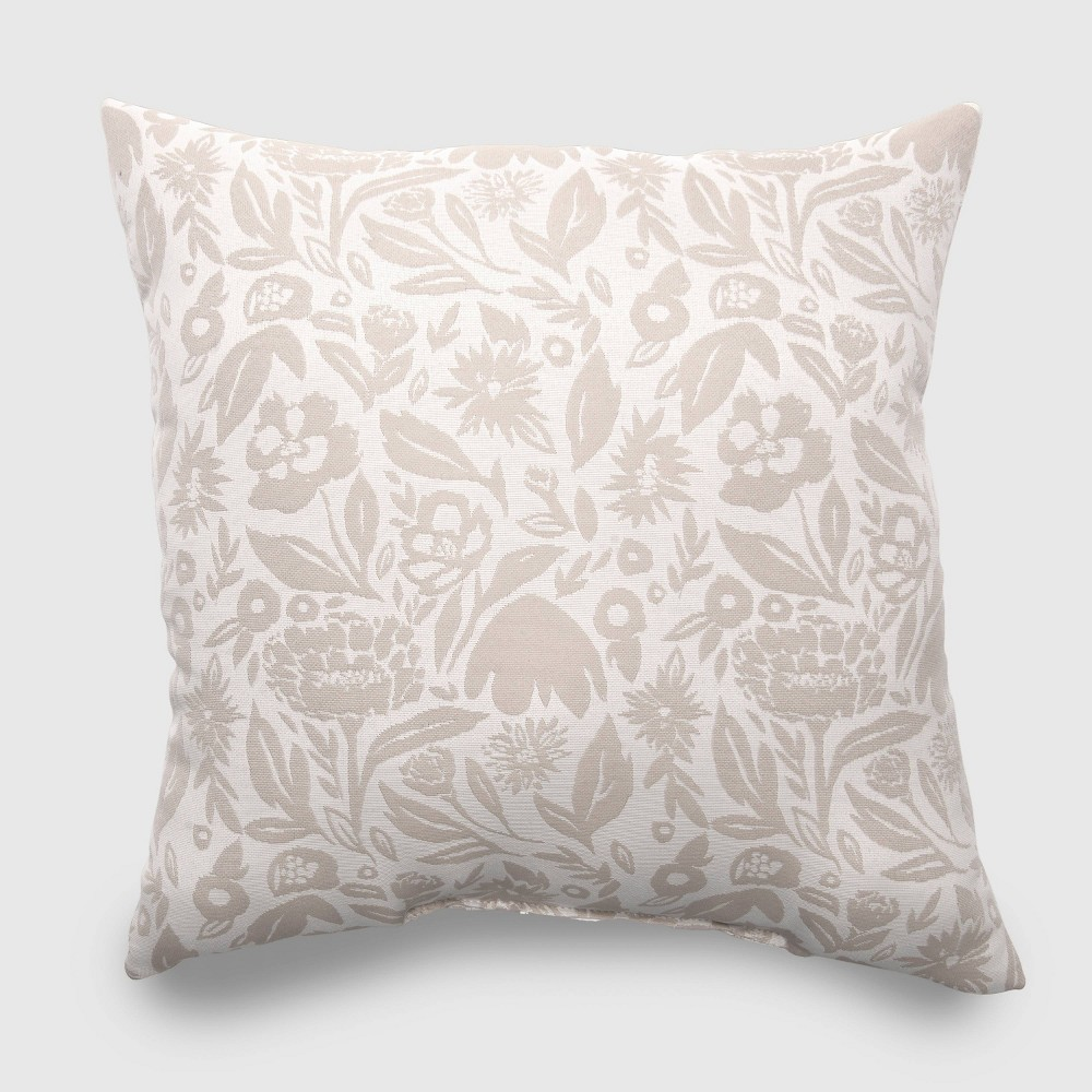 Oversize Square Garden Party Outdoor Pillow Tan - Opalhouse