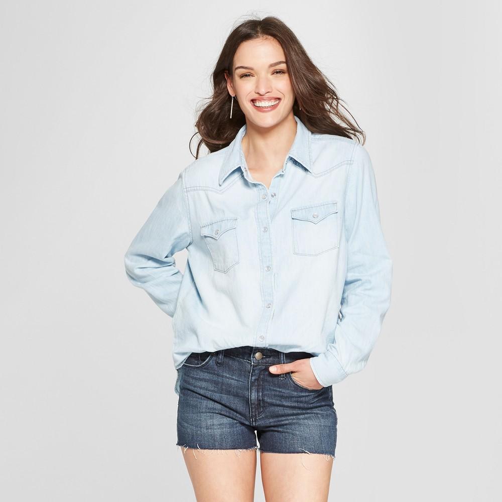 Women's Western Denim Long Sleeve Shirt - Universal Thread Light Wash Xxl, Blue