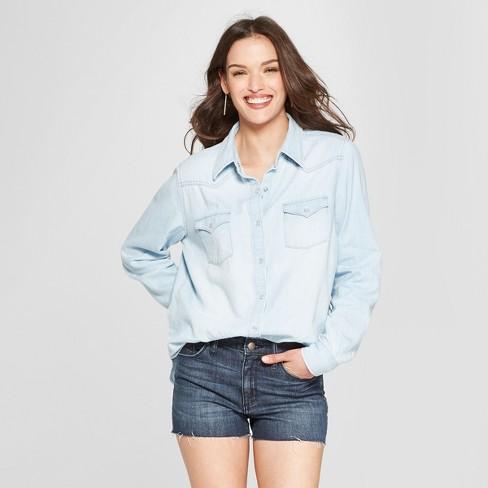 81a36fbfc1d Women s Western Denim Long Sleeve Shirt - Universal Thread™ Light Wash
