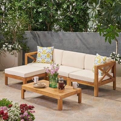Alcove 5pc Acacia Wood Sofa Conversation Set - Christopher Knight Home