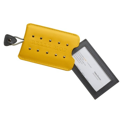 Belle Hop Leather Studded Luggage Tag - Yellow - image 1 of 1