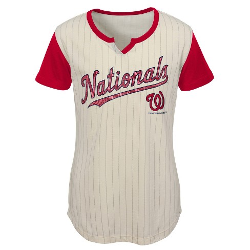 4d735620c4e MLB Washington Nationals Girls  In the Game Cream Pinstripe T-Shirt. Shop  all MLB