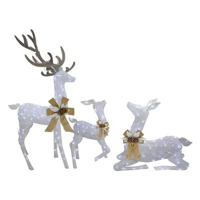 "J. Hofert Co 3pc White Deer Family LED Twinkle Outdoor Christmas Yard Art Display 40"""