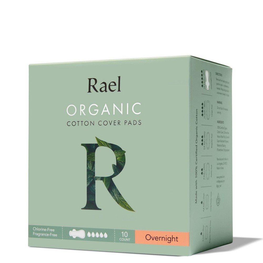 Rael Organic Cotton Overnight Menstrual Pads Unscented 10ct
