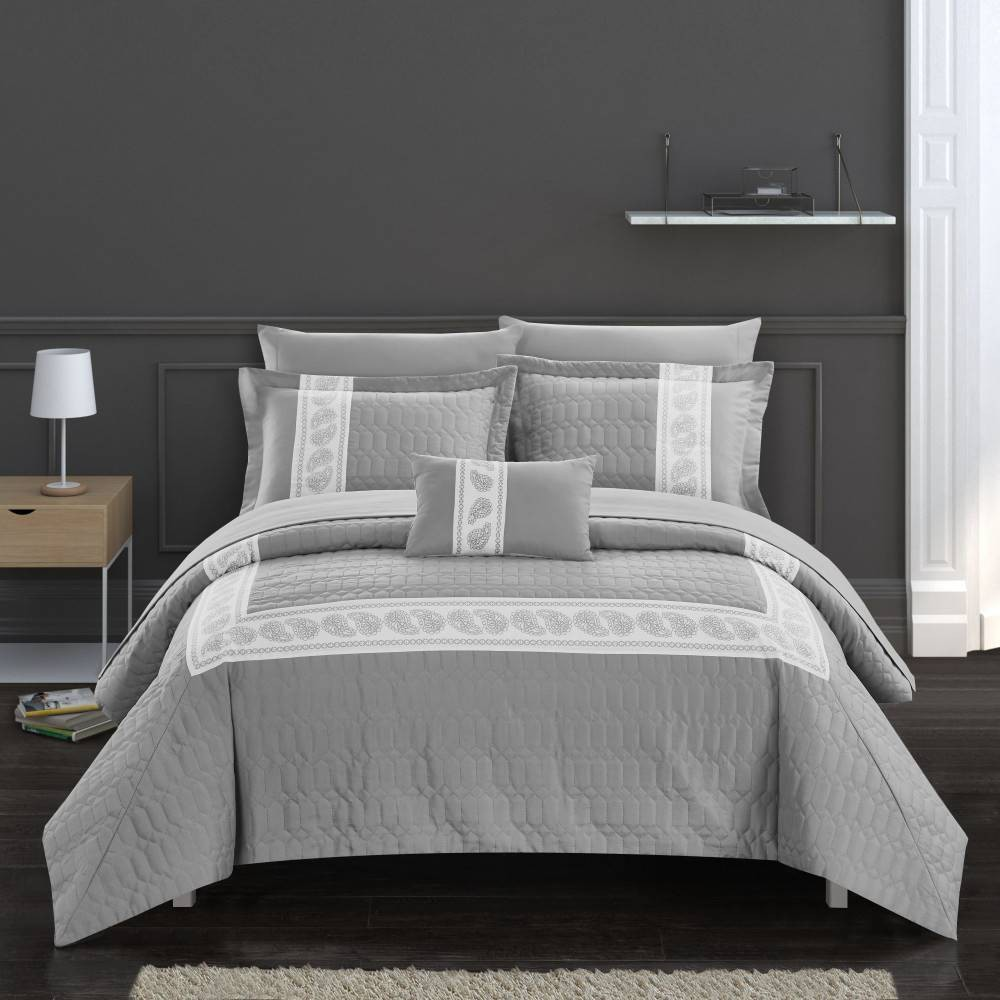 Chic Home Design Queen 8pc Mason Bed In A Bag Comforter Set Gray