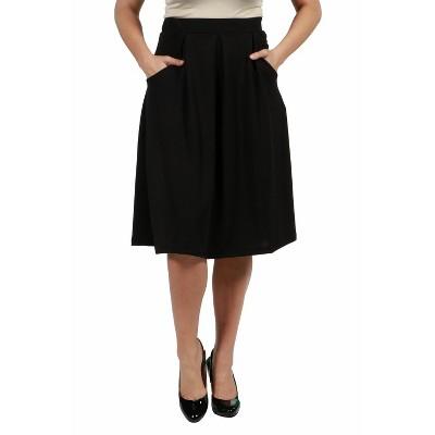 24seven Comfort Apparel Women's Plus Knee Length Black Skirt