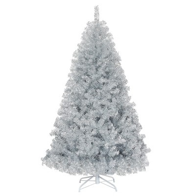 Costway 6Ft Hinged Unlit Artificial Silver Tinsel Christmas Tree Holiday w/Metal Stand
