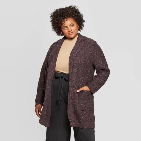 Women's Plus Size Long Sleeve Open Layering Textured Coatigan - A New Day™ Light Gray Heather - image 1 of 3