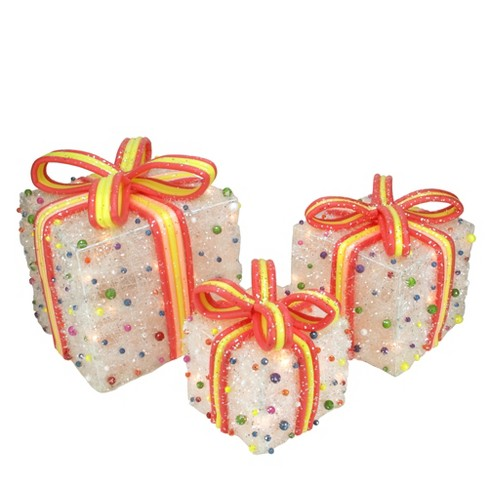 northlight set of 3 white lighted tinsel gift boxes with bows and candy christmas outdoor decorations