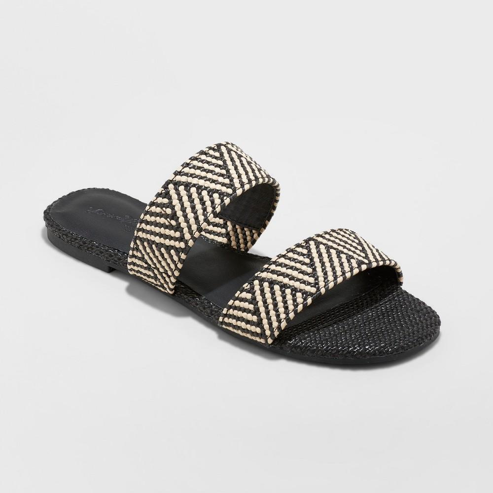 Women's Anniemae Wide Width Woven Slide Sandal - Universal Thread Black 5.5W, Size: 5.5 Wide