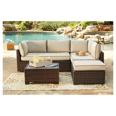 Superieur Loughran 4pc All Weather Wicker Patio Conversation Set   Brown/Ivory    Outdoor By Ashley : Target