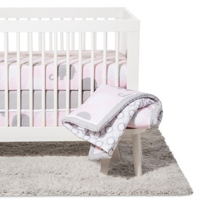 NoJo® Crib Bedding Set 8pc - Elephant Dream - Pink/Gray
