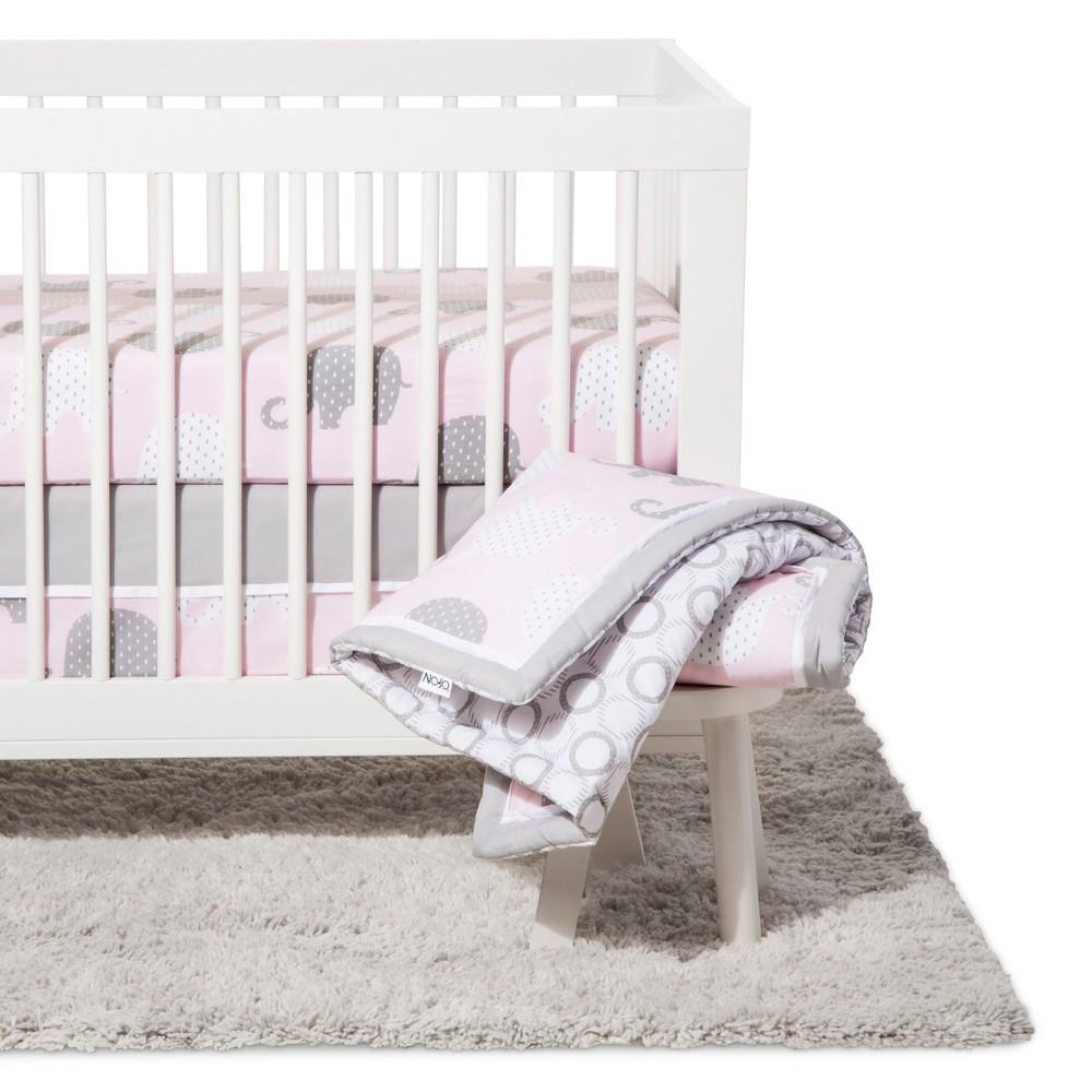 Image of NoJo Crib Bedding Set 8pc - Elephant Dream - Pink/Gray