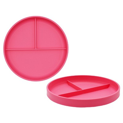 Little Kid's Round Divided Plate 7.3 x7.3  Plastic Pink Taffy - Pillowfort™